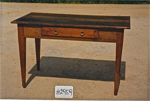 Antique single-drawer tapered leg Charles IV writing table, pine