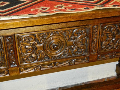 Carved three-drawer reproduction Second Renaissance console table, cachimbo hardwood