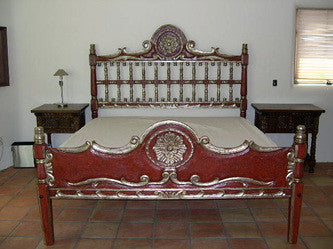 #AC1616-RD Carved King Size Bed (Red)