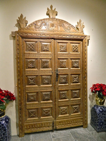 Antique Carved Honey Pine Door