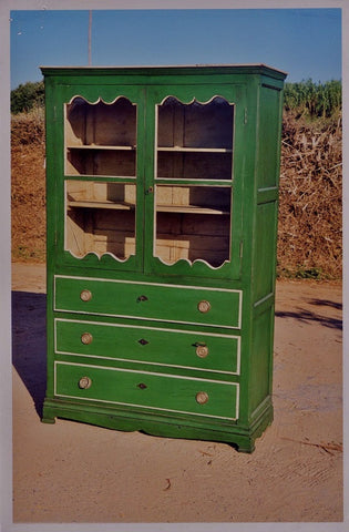Antique painted two-door, three-drawer china cabinet, pine