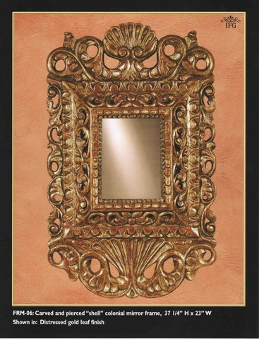 "Reproduction carved, pierced and gilt Spanish colonial ""shell"" mirror, cachimbo hardwood"