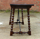 Walnut console table with iron stretchers