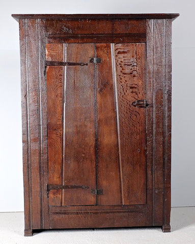 Reproduction one-door Basque mountain cabinet, reclaimed oak and chestnut
