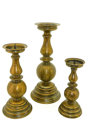 Large Bronze Turned Baroque Candlestick