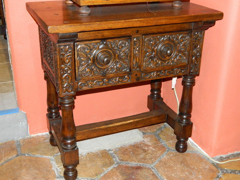 "Carved two-drawer reproduction ""Second Renaissance"" table, cachimbo hardwood"