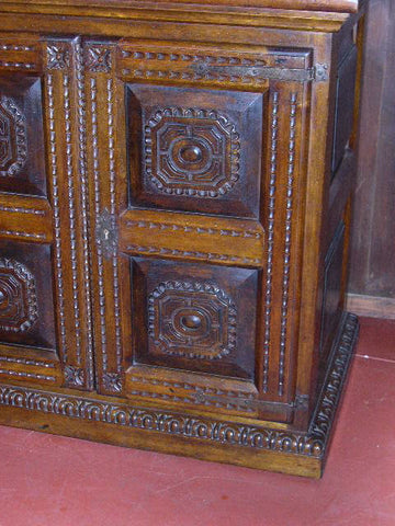 #AC1627 Carved two-door credenza / vanity cabinet