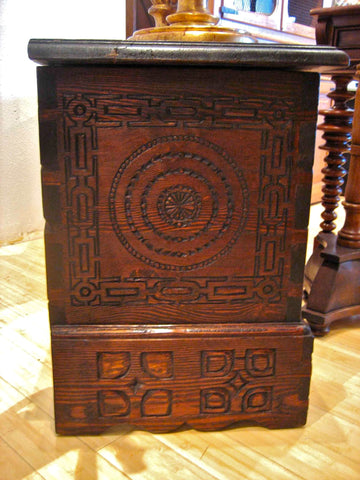 Carved reproduction Navarrese dowry chest, reclaimed pine