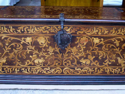 Reproduction inlaid cedar & boxwood bride's chest
