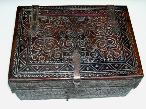 Reproduction tooled leather Spanish colonial document box