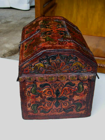 Reproduction Painted and gilt convex top tooled leather Spanish colonial box