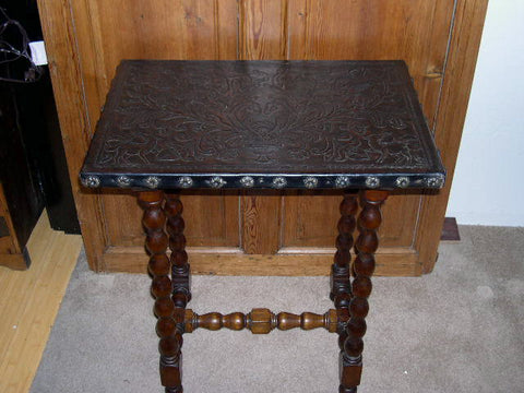 Carved two-drawer reproduction Spanish colonial sofa table, cachimbo hardwood
