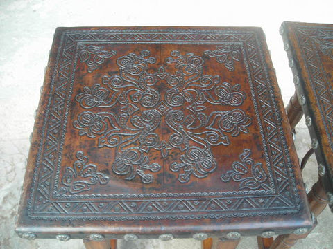 Reproduction tooled leather top square accent table