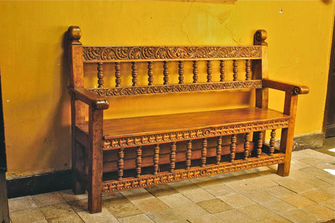 Reproduction carved, painted & gilt Spanish colonial Chippendale bench, cachimbo hardwood