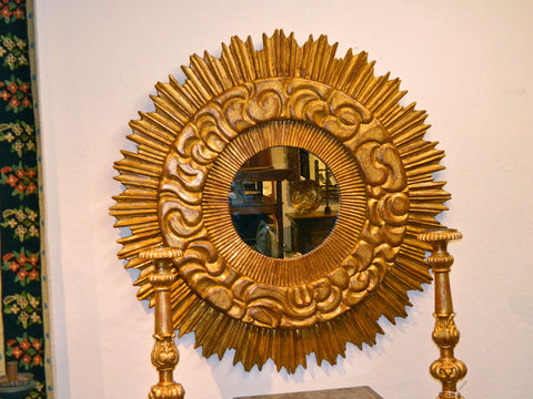 Reproduction carved and gilt sunburst mirror, cachimbo hardwood