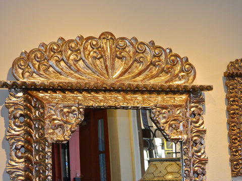 Reproduction carved, pierced and silvered Spanish colonial mirror frame, cachimbo hardwood