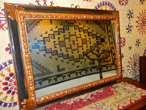 "Reproduction rectangular carved, painted and gilt ""Baroque"" mirror frame, cachimbo hardwood"