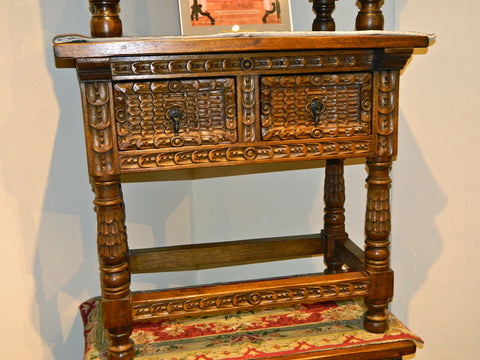 Carved three-drawer, turned-leg reproduction Portuguese console table, cachimbo hardwood