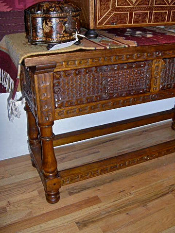 Carved two-drawer reproduction Spanish colonial console table, cachimbo hardwood