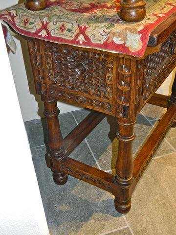 Large carved single-drawer reproduction Spanish colonial nightstand, cachimbo hardwood