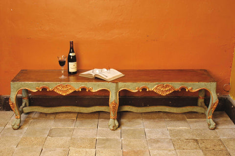 "Reproduction carved Spanish colonial ""Arequipa"" bench, cachimbo hardwood"