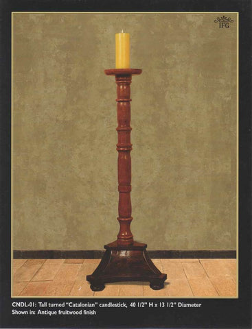 "Reproduction Tall turned ""Catalonian"" candlestick."