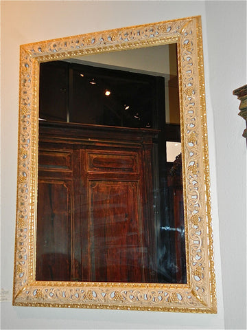 "Reproduction hand-carved and pierced ""Renaissance"" mirror"