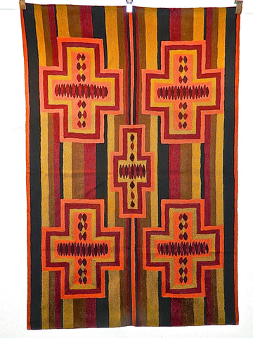 """CONTEMPORARY THIRD PHASE"" chain stitch rug / tapestry hanging (4' x 6')"