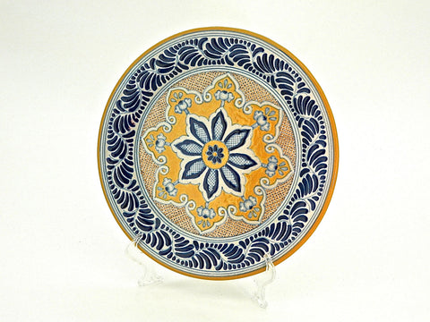 "Large Round Talavera Serving Platter - ""MEDALLON MORISCO"""