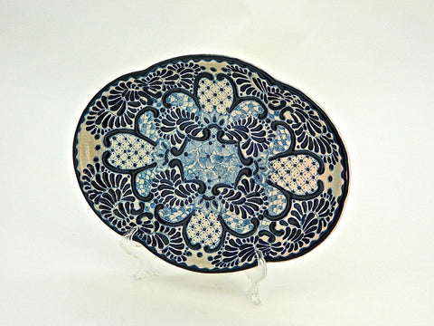 "Small Oval Talavera Serving Platter - ""VIRREY"""