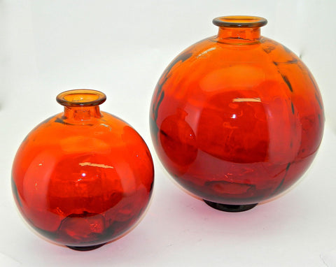 "#AC1495, Small Round ""Sunset"" Glass Vase"