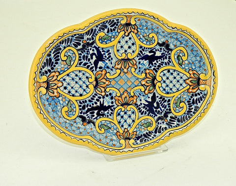 "Small Oval Talavera Serving Platter - ""SEVILLA"""