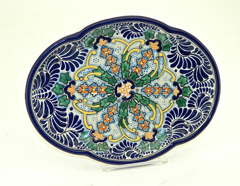 "Small Oval Talavera Serving Platter - ""HELECHO"""