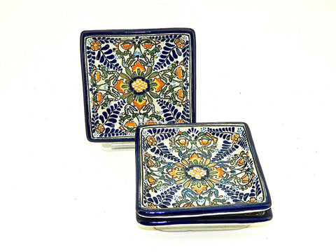 "Small Square Talavera Tray - ""HELECHO"""