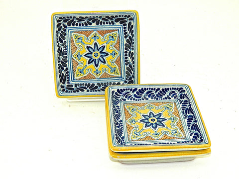 "Small Square Talavera Tray - ""MEDALLON MORISCO"""