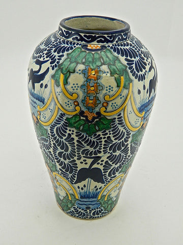 "Tall Carrot-Shaped Talavera Urn - ""VIRREY"""