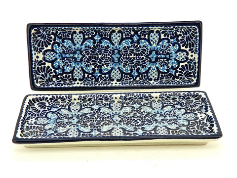 "Small Rectangular Talavera Hors D'oeuvres Tray - ""MEDALLON MORISCO"""