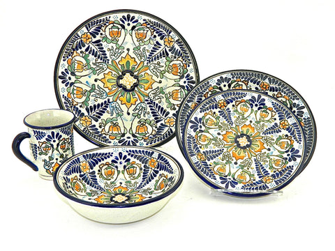 "Five-piece Talavera Dinnerware Set - ""HELECHO"""