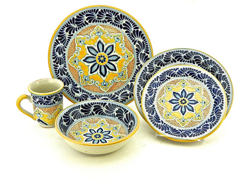 "Five-piece Talavera Dinnerware Set - ""FLOR DE LIZ"""