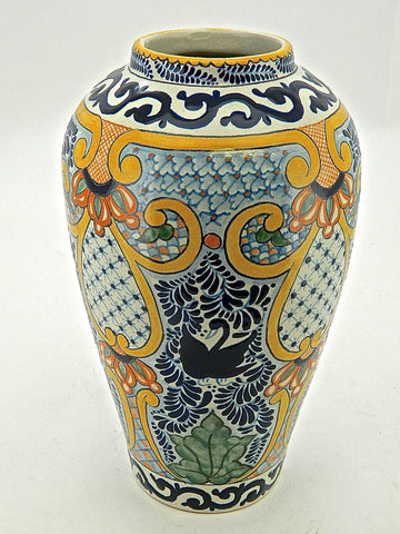 "Tall Carrot-Shaped Talavera Urn - ""SEVILLA"""