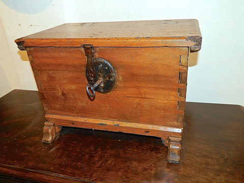 Antique small tabletop valuables / document chest, honey pine