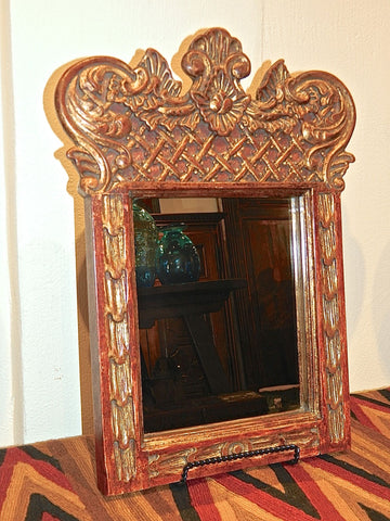 Reproduction painted and gilt mini Spanish colonial mirror with carved cross-hatching, cachimbo hardwood