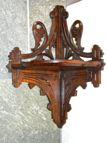 Antique wooden corner bracket, walnut