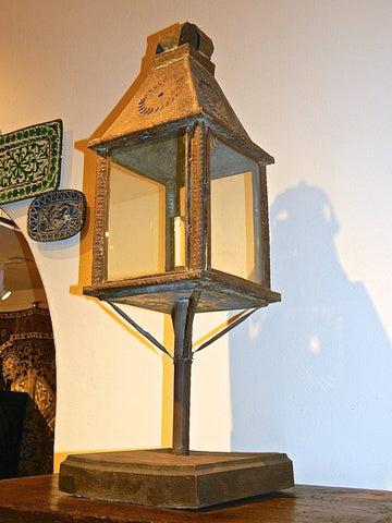 Antique tin Andalusian lantern on stand