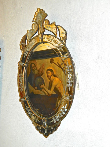 Antique cut and etched glass Venetian mirror