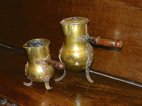 Antique pair of brass and copper chocolate pots