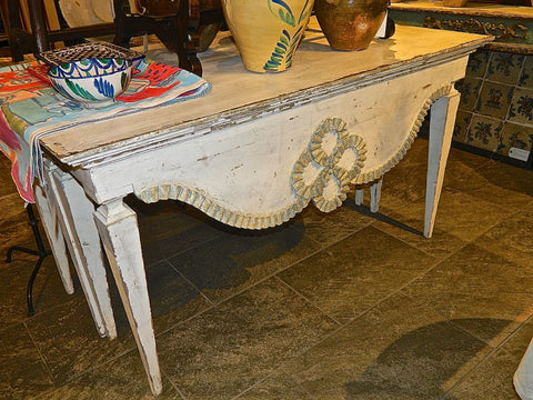 Antique carved and scalloped front console table