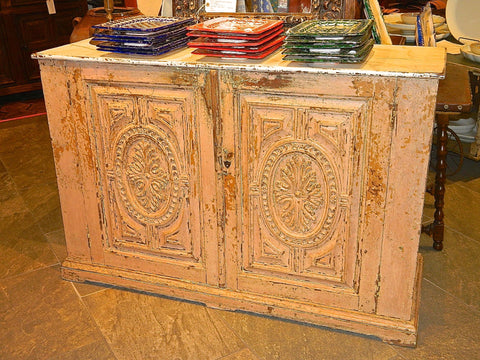 Antique two-door carved and painted Portuguese credenza with faux marble top