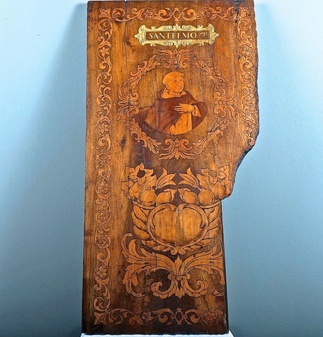 Antique carved panel of Moses with God the Father, birch
