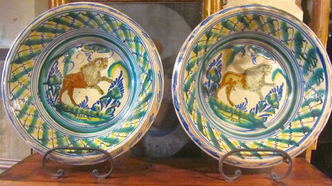 Antique pair of painted and glazed Lucena pots